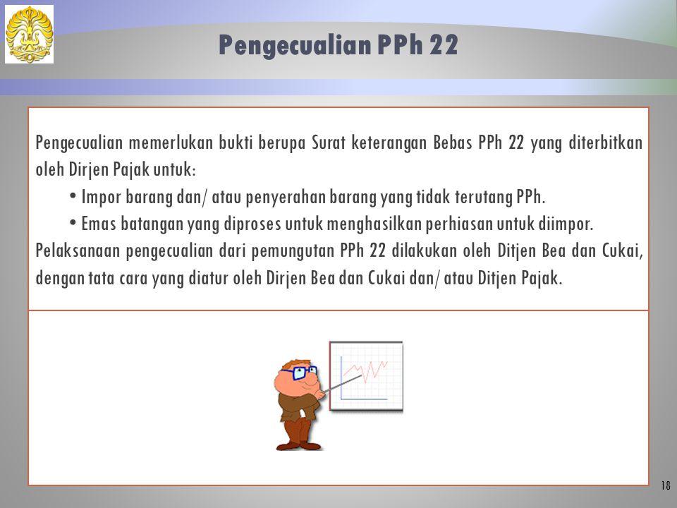 Pengecualian PPh 22 Pengecualian memerlukan bukti berupa Surat keterangan Bebas PPh 22 yang diterbitkan oleh Dirjen Pajak untuk:
