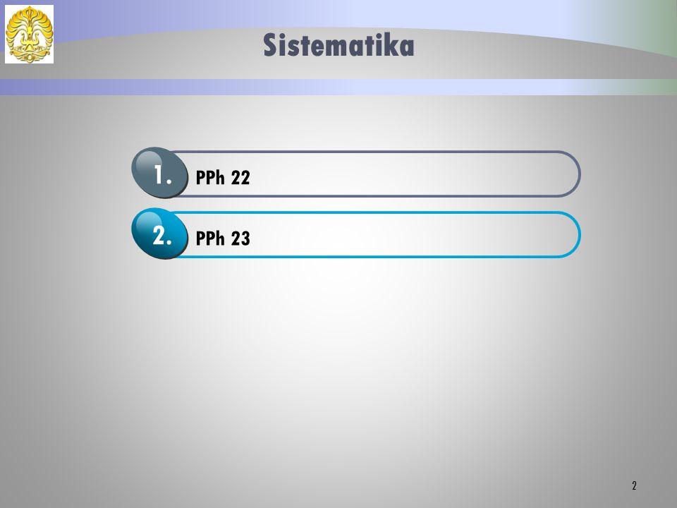 Sistematika PPh 22 1. PPh 23 2.