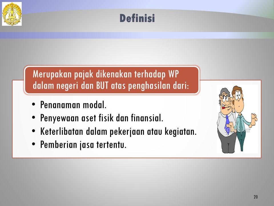 Definisi Merupakan pajak dikenakan terhadap WP dalam negeri dan BUT atas penghasilan dari: Penanaman modal.