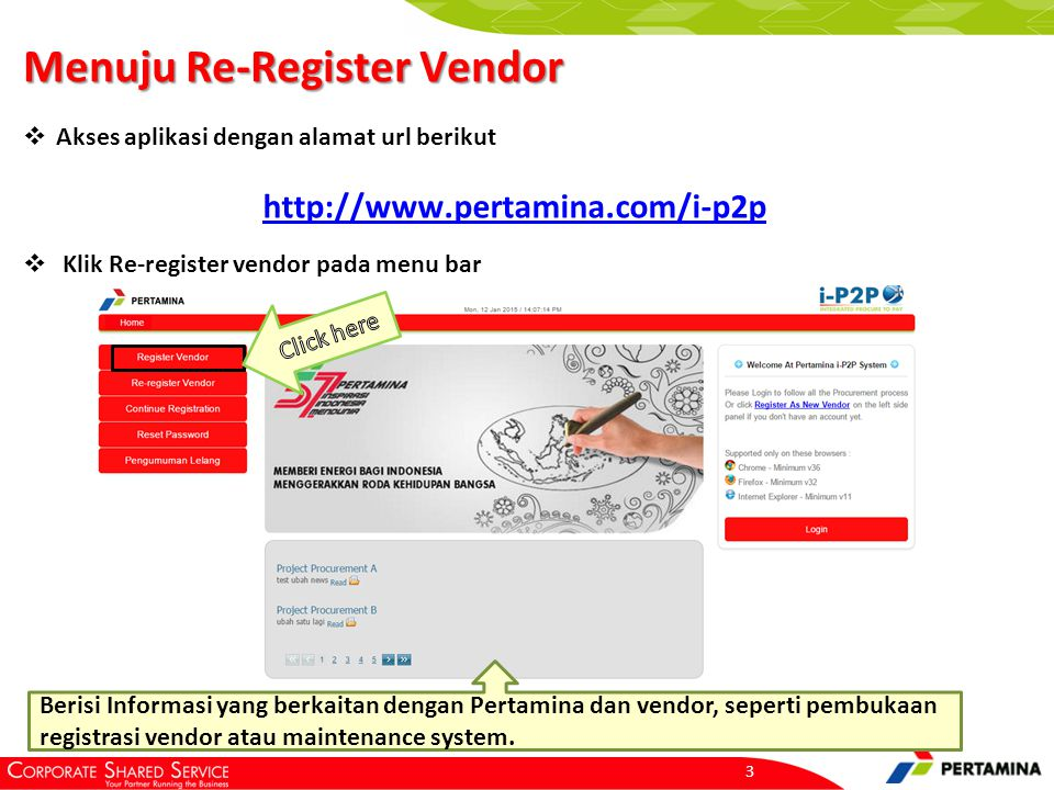 Halaman Utama Menu Register Vendor