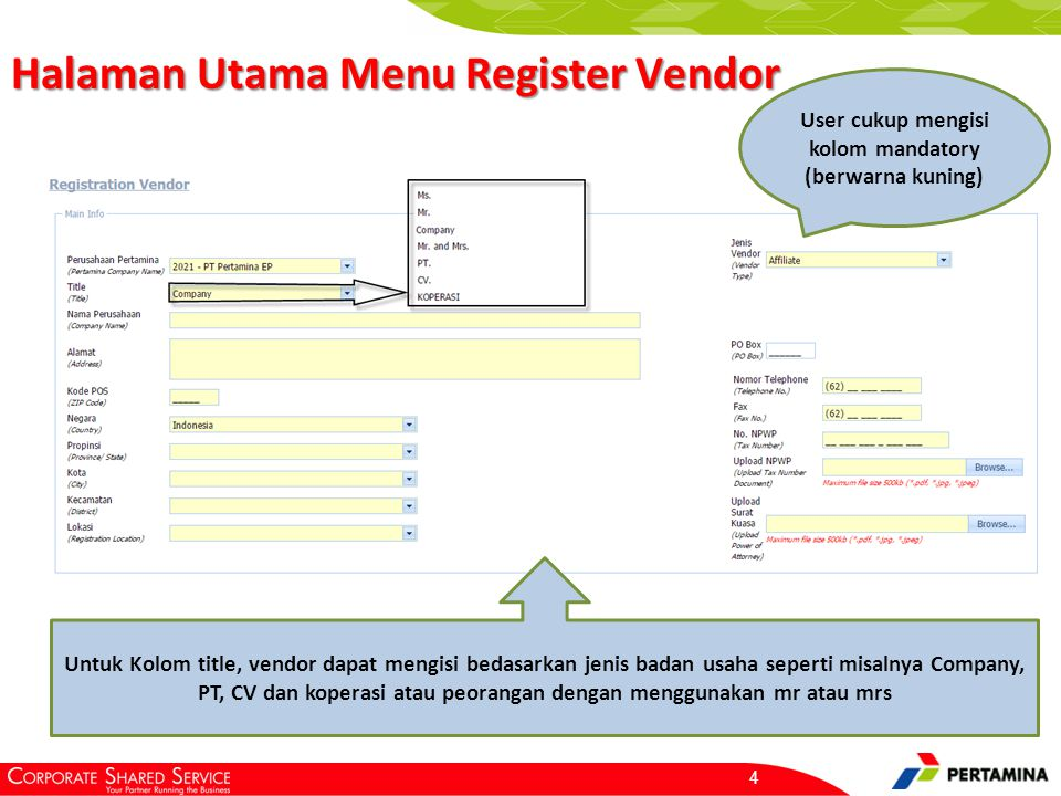 Informasi Admin dalam Register Vendor