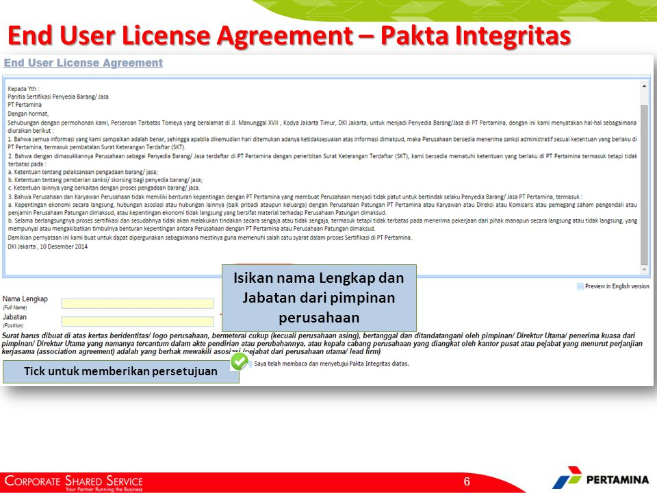 End User License Agreement – Pakta Integritas