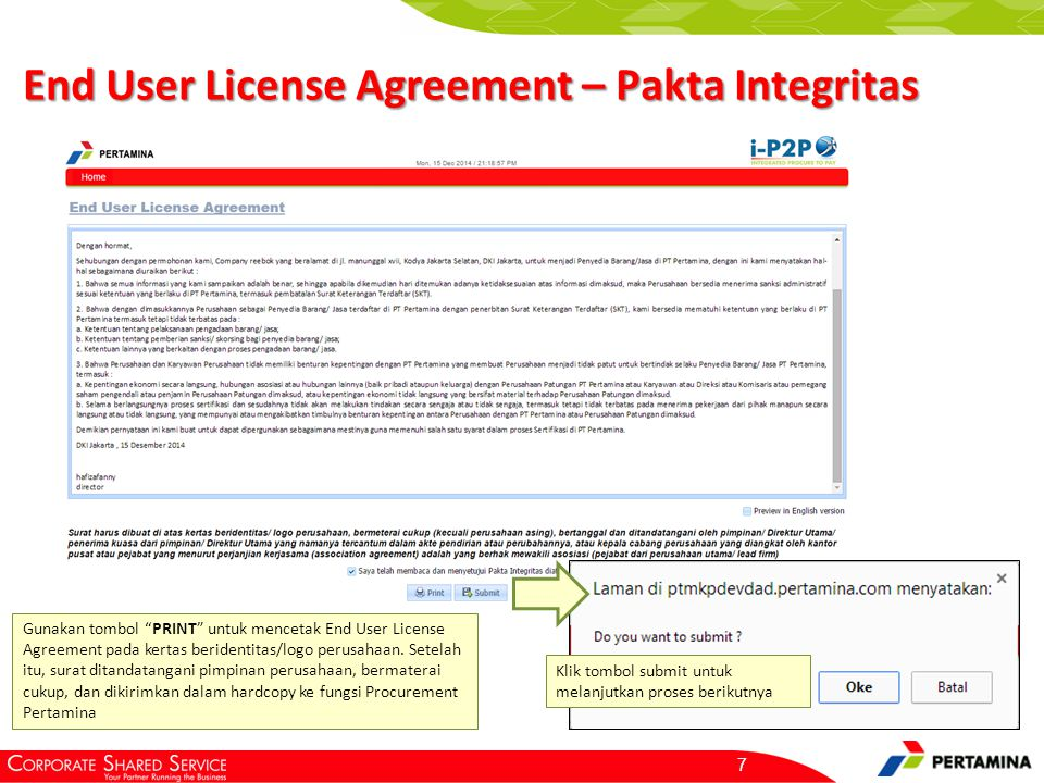 End User License Agreement – Surat Pernyataan