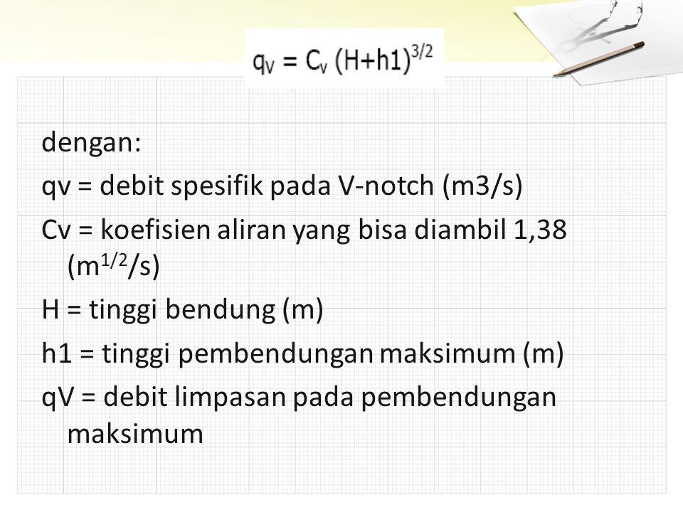 dengan: qv = debit spesifik pada V-notch (m3/s) Cv = koefisien aliran yang bisa diambil 1,38 (m1/2/s)