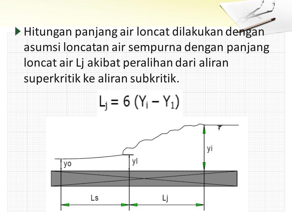 Hitungan panjang air loncat dilakukan dengan asumsi loncatan air sempurna dengan panjang loncat air Lj akibat peralihan dari aliran superkritik ke aliran subkritik.