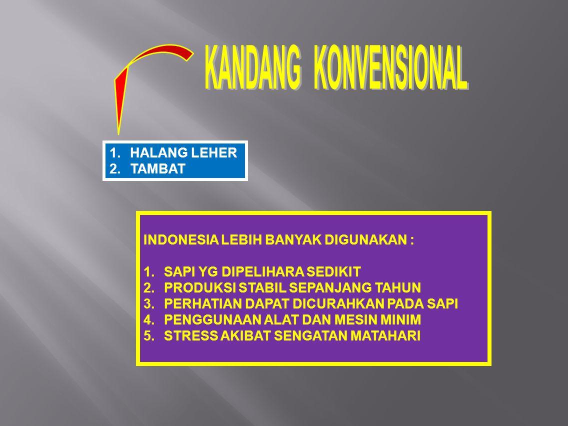 INDONESIA LEBIH BANYAK DIGUNAKAN : SAPI YG DIPELIHARA SEDIKIT
