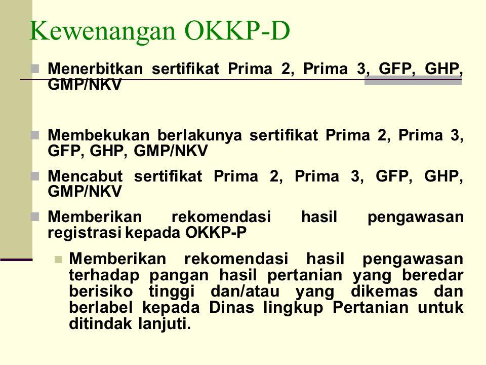 Kewenangan OKKP-D Menerbitkan sertifikat Prima 2, Prima 3, GFP, GHP, GMP/NKV. Membekukan berlakunya sertifikat Prima 2, Prima 3, GFP, GHP, GMP/NKV.