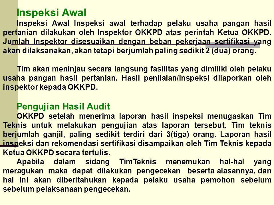 Inspeksi Awal Pengujian Hasil Audit