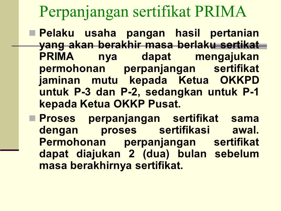 Perpanjangan sertifikat PRIMA