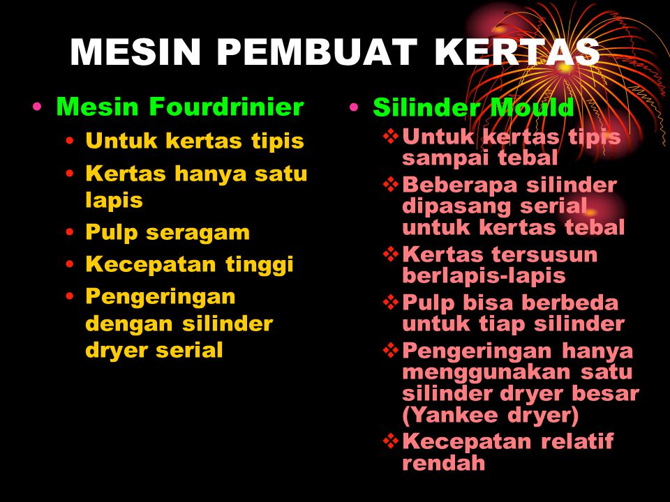 MESIN PEMBUAT KERTAS Mesin Fourdrinier Silinder Mould