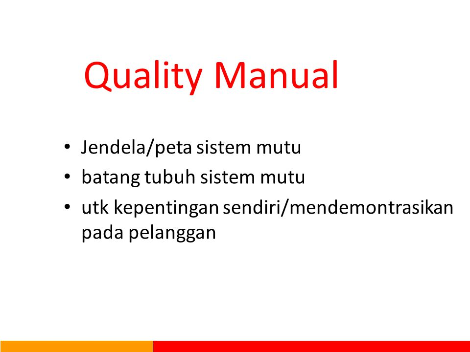 Quality Manual Jendela/peta sistem mutu batang tubuh sistem mutu