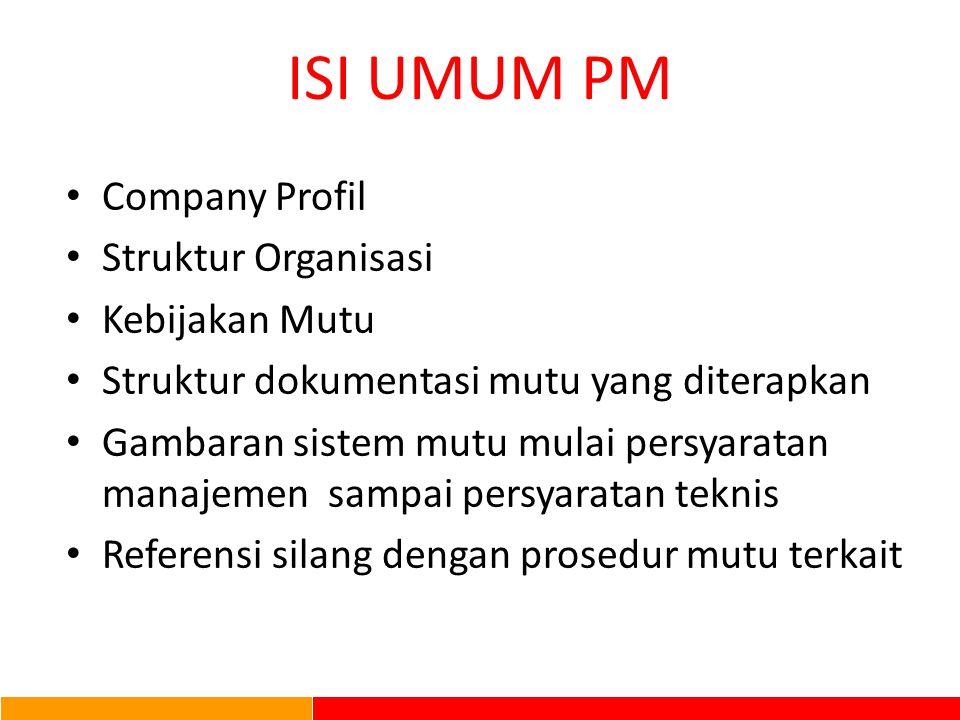 ISI UMUM PM Company Profil Struktur Organisasi Kebijakan Mutu