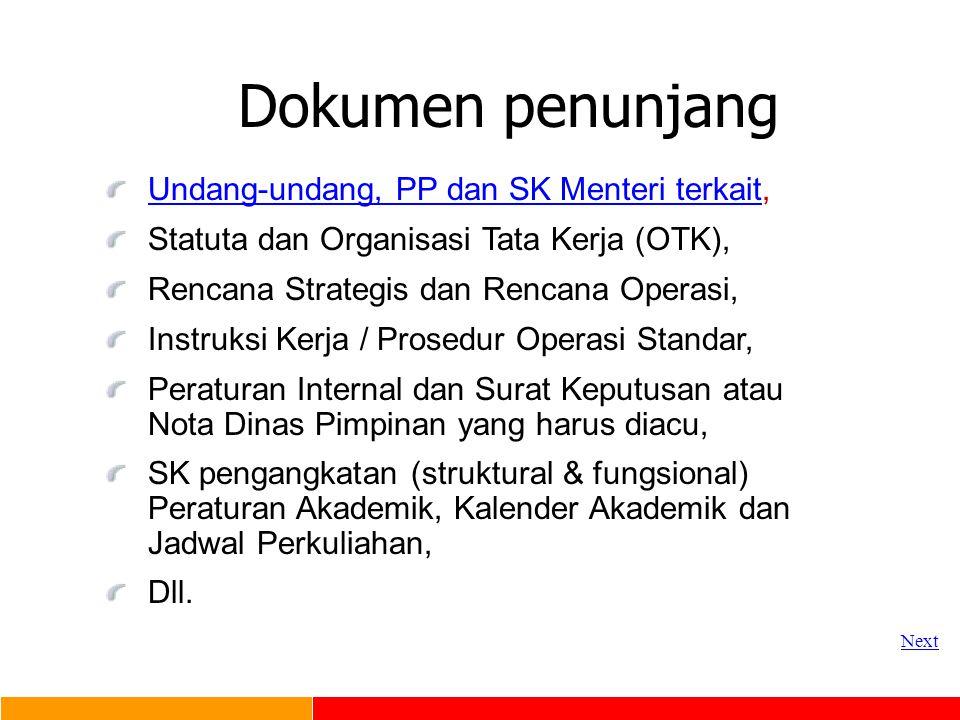 Dokumen penunjang Undang-undang, PP dan SK Menteri terkait,