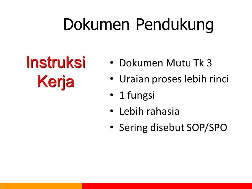 Dokumen Pendukung Instruksi Kerja Dokumen Mutu Tk 3