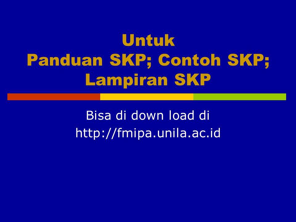 Untuk Panduan SKP; Contoh SKP; Lampiran SKP