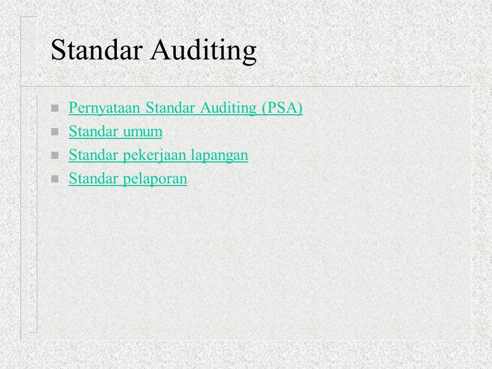 Standar Auditing Pernyataan Standar Auditing (PSA) Standar umum