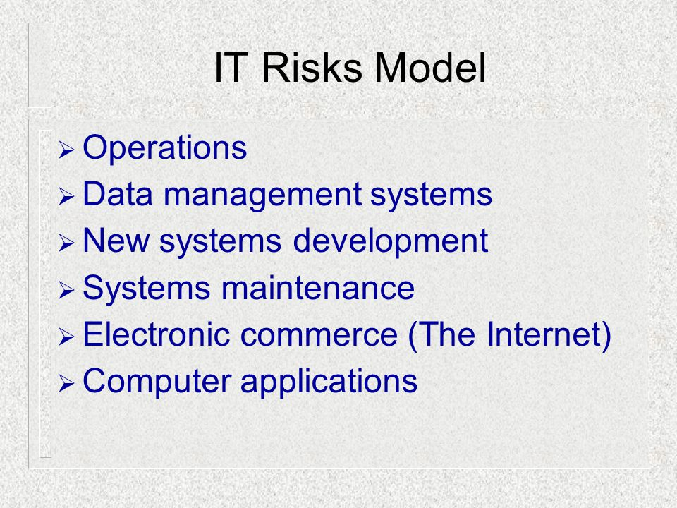 IT Risks Model Operations Data management systems