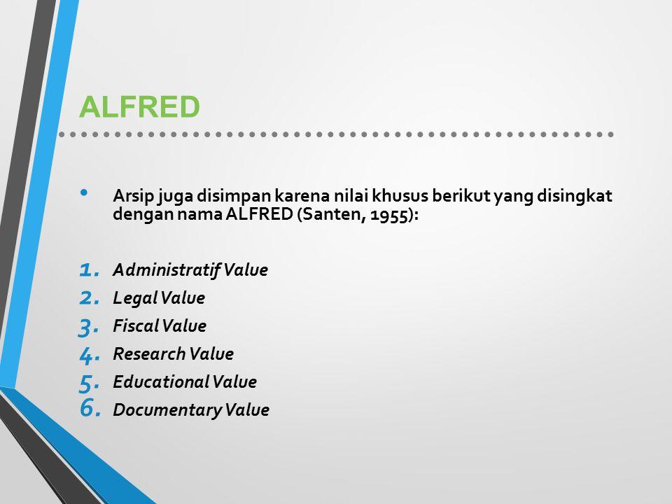 ALFRED Arsip juga disimpan karena nilai khusus berikut yang disingkat dengan nama ALFRED (Santen, 1955):