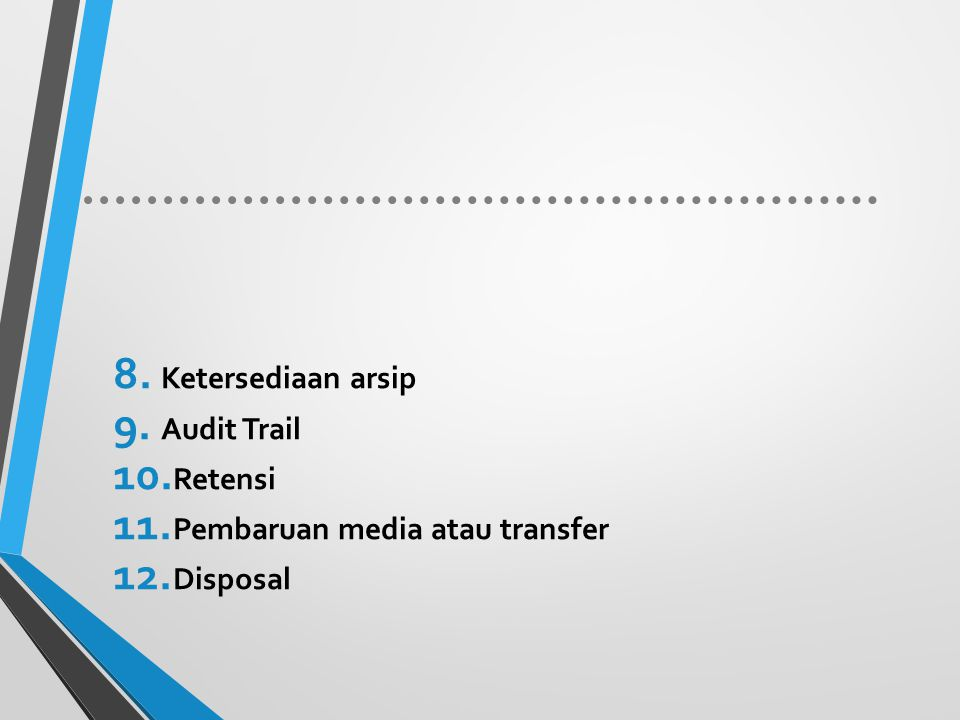 Ketersediaan arsip Audit Trail Retensi Pembaruan media atau transfer Disposal