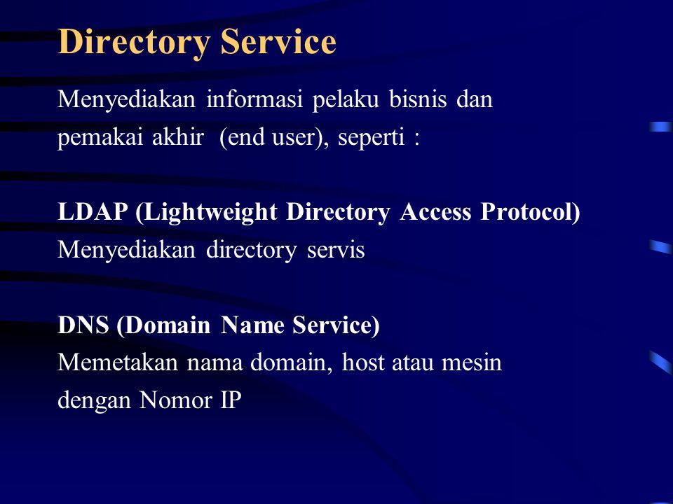 Directory Service Menyediakan informasi pelaku bisnis dan