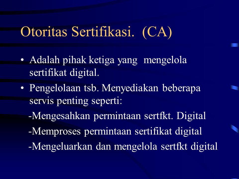 Otoritas Sertifikasi. (CA)