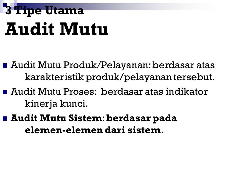 3 Tipe Utama Audit Mutu Audit Mutu Produk/Pelayanan: berdasar atas karakteristik produk/pelayanan tersebut.