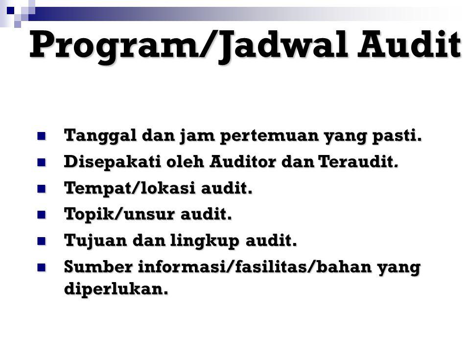 Program/Jadwal Audit Tanggal dan jam pertemuan yang pasti.