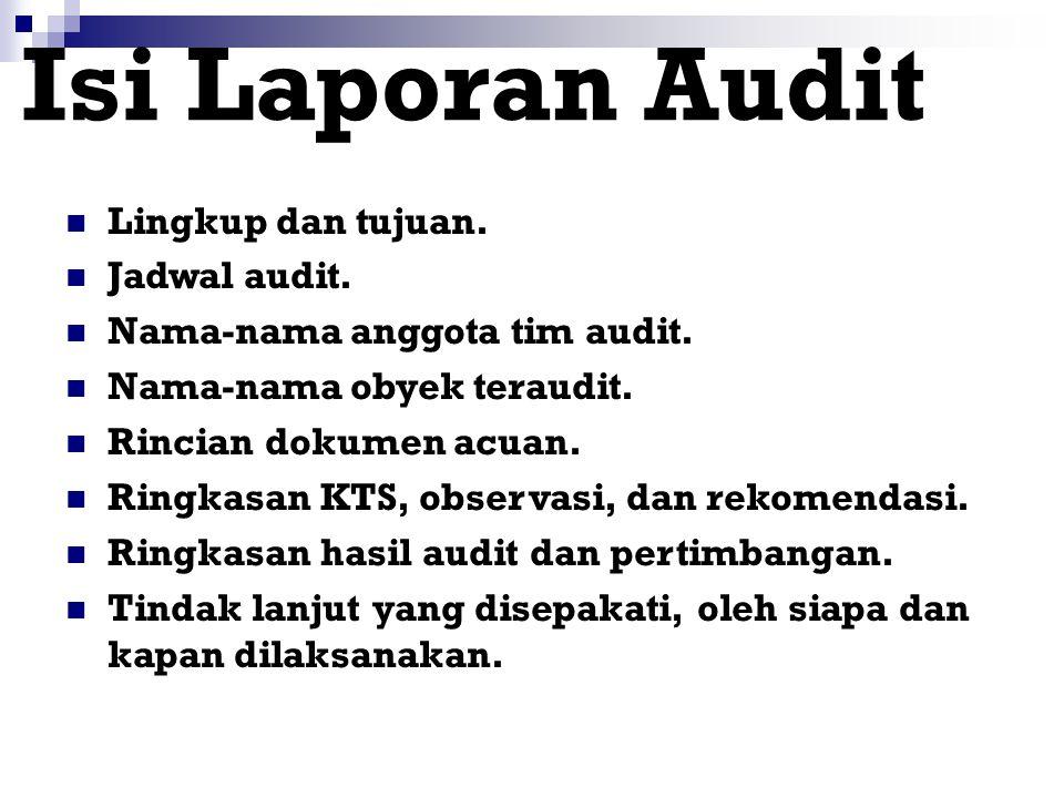 Isi Laporan Audit Lingkup dan tujuan. Jadwal audit.