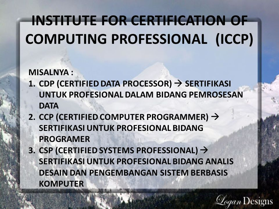 INSTITUTE FOR CERTIFICATION OF COMPUTING PROFESSIONAL (ICCP)