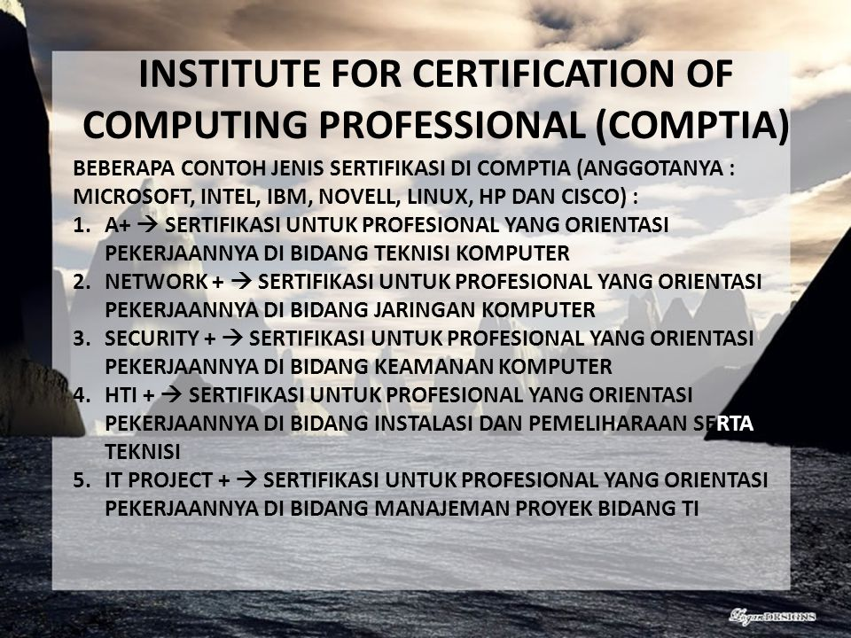INSTITUTE FOR CERTIFICATION OF COMPUTING PROFESSIONAL (COMPTIA)