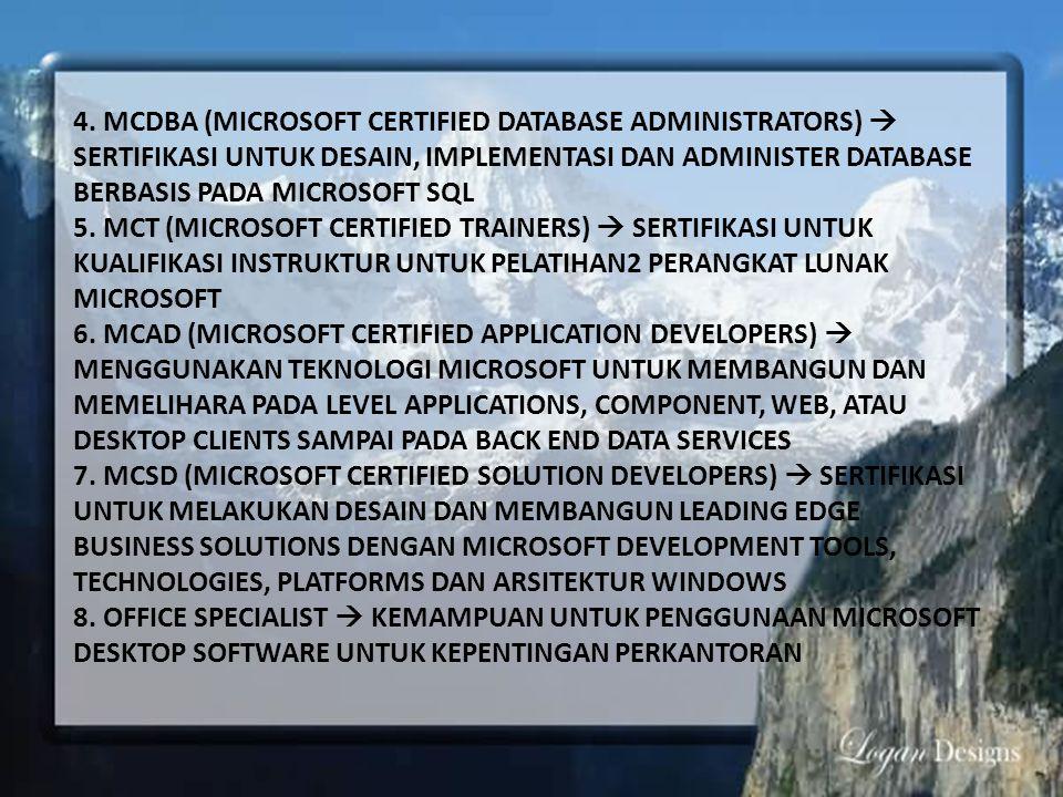 4. MCDBA (MICROSOFT CERTIFIED DATABASE ADMINISTRATORS)  SERTIFIKASI UNTUK DESAIN, IMPLEMENTASI DAN ADMINISTER DATABASE BERBASIS PADA MICROSOFT SQL
