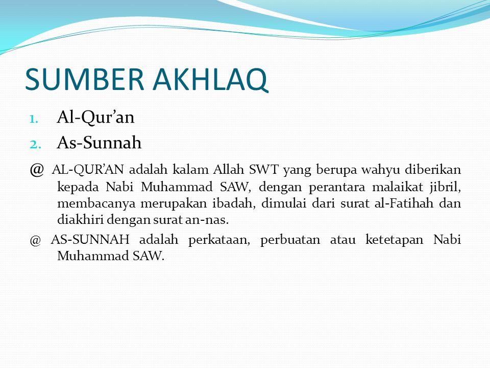 SUMBER AKHLAQ Al-Qur'an As-Sunnah