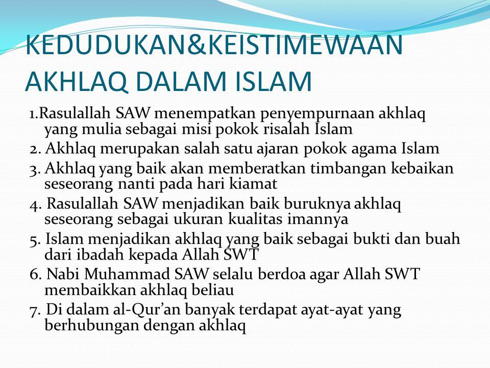 KEDUDUKAN&KEISTIMEWAAN AKHLAQ DALAM ISLAM