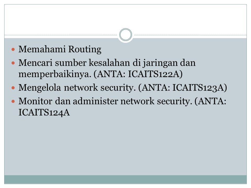 Memahami Routing Mencari sumber kesalahan di jaringan dan memperbaikinya. (ANTA: ICAITS122A) Mengelola network security. (ANTA: ICAITS123A)