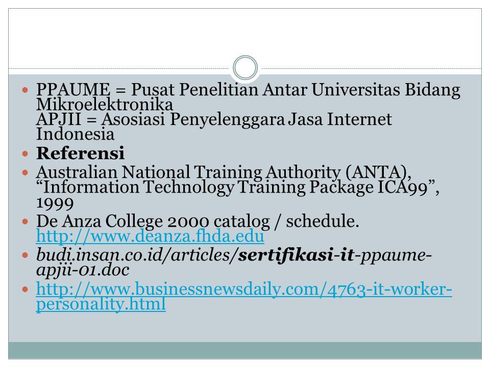 PPAUME = Pusat Penelitian Antar Universitas Bidang Mikroelektronika APJII = Asosiasi Penyelenggara Jasa Internet Indonesia