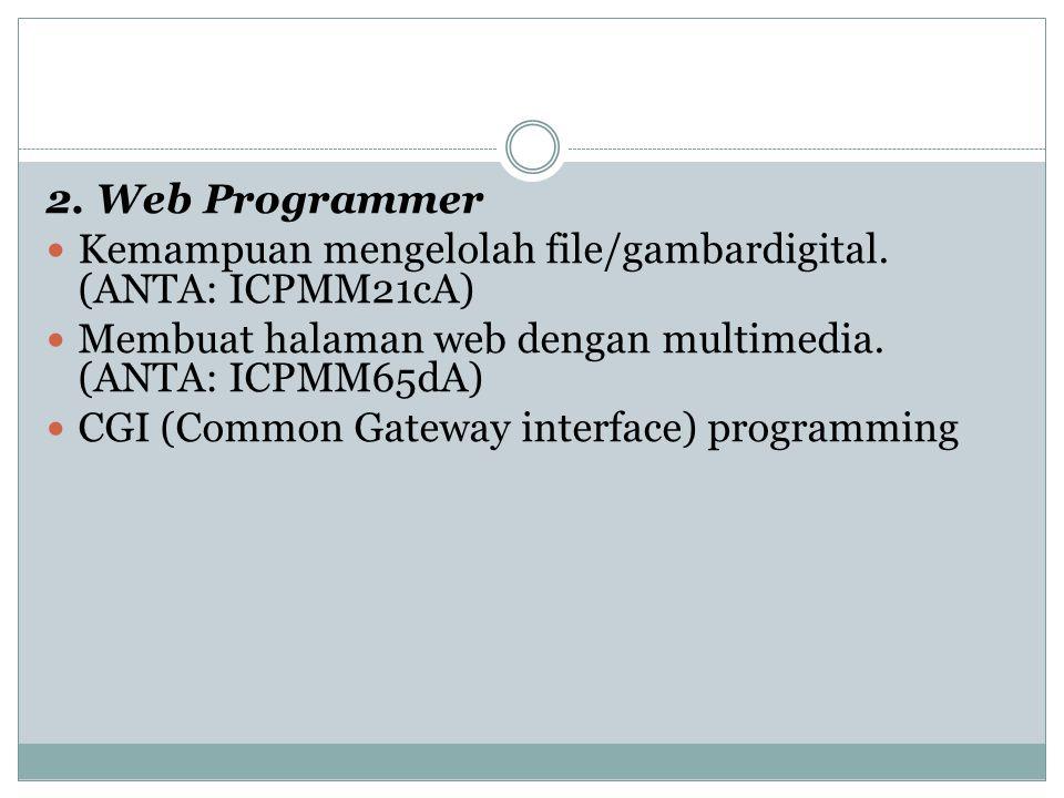 2. Web Programmer Kemampuan mengelolah file/gambardigital. (ANTA: ICPMM21cA) Membuat halaman web dengan multimedia. (ANTA: ICPMM65dA)