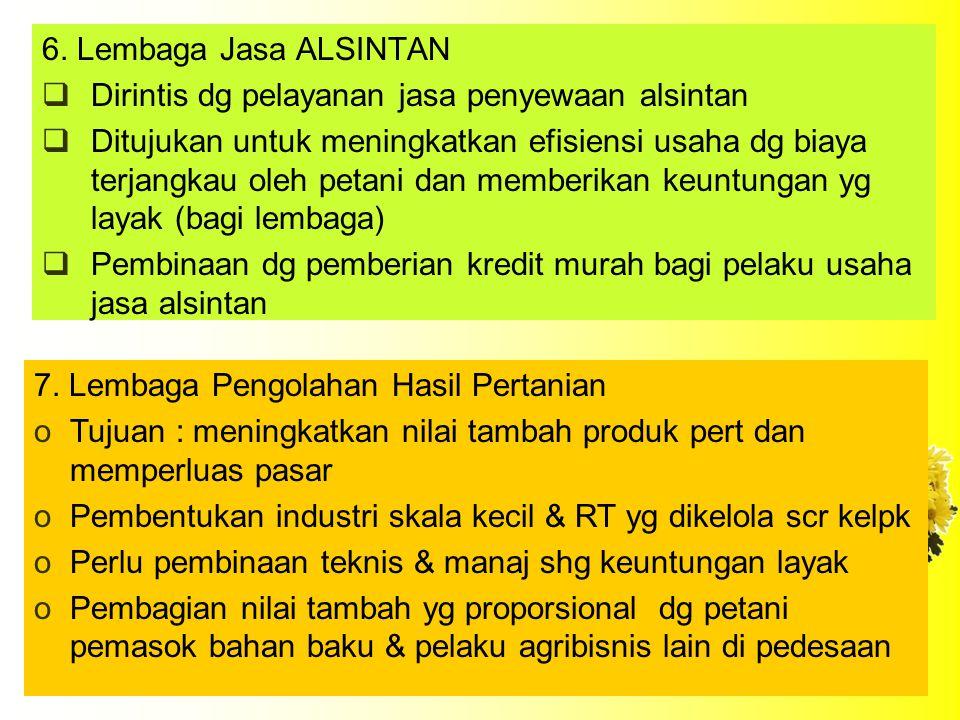 6. Lembaga Jasa ALSINTAN Dirintis dg pelayanan jasa penyewaan alsintan.