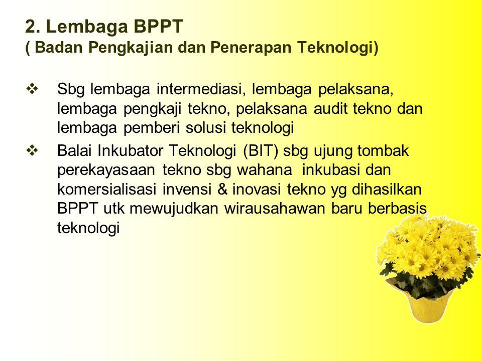 2. Lembaga BPPT ( Badan Pengkajian dan Penerapan Teknologi)