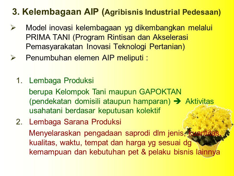 3. Kelembagaan AIP (Agribisnis Industrial Pedesaan)