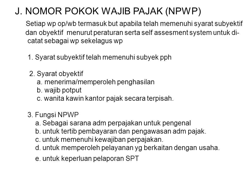 J. NOMOR POKOK WAJIB PAJAK (NPWP)