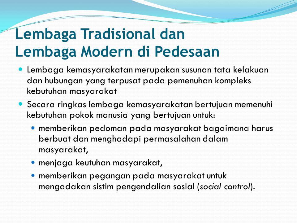 Lembaga Tradisional dan Lembaga Modern di Pedesaan