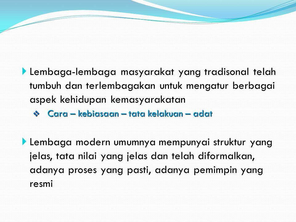 Lembaga-lembaga masyarakat yang tradisonal telah tumbuh dan terlembagakan untuk mengatur berbagai aspek kehidupan kemasyarakatan