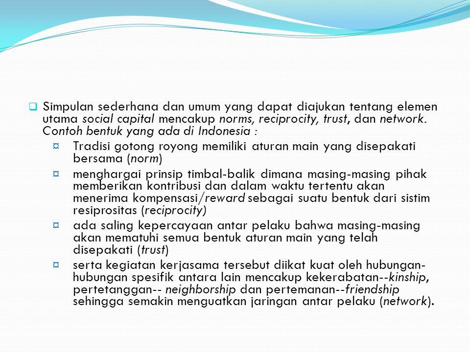 Simpulan sederhana dan umum yang dapat diajukan tentang elemen utama social capital mencakup norms, reciprocity, trust, dan network. Contoh bentuk yang ada di Indonesia :