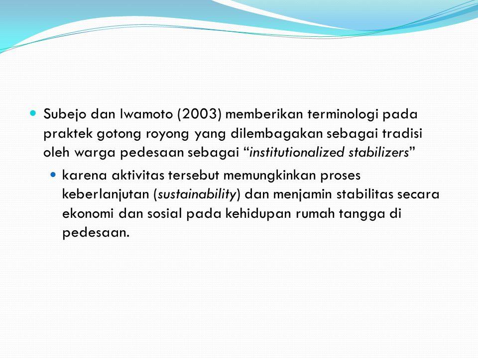 Subejo dan Iwamoto (2003) memberikan terminologi pada praktek gotong royong yang dilembagakan sebagai tradisi oleh warga pedesaan sebagai institutionalized stabilizers