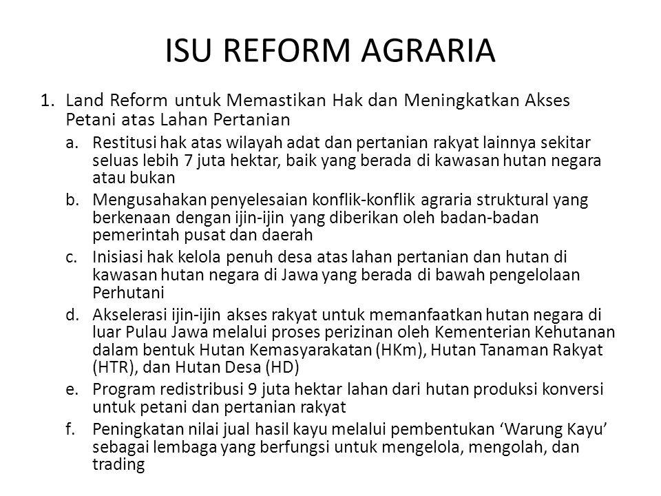 ISU REFORM AGRARIA Land Reform untuk Memastikan Hak dan Meningkatkan Akses Petani atas Lahan Pertanian.