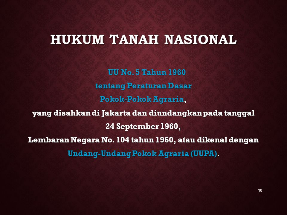 HUKUM TANAH NASIONAL