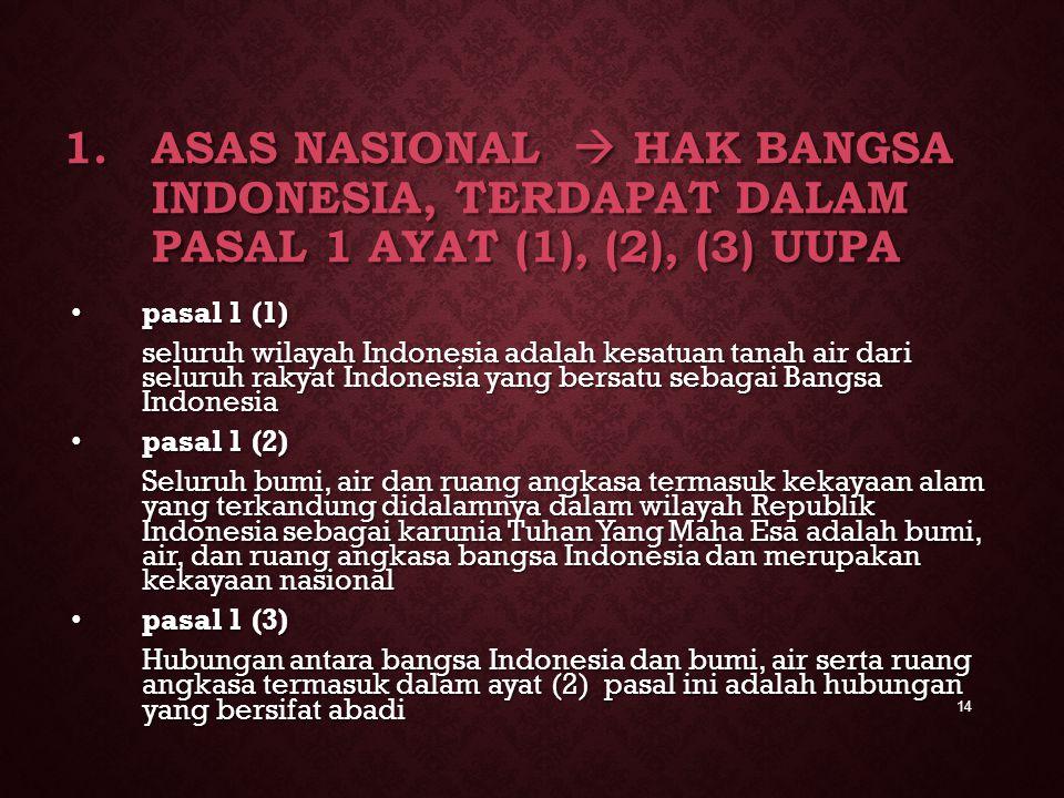 Asas Nasional  Hak Bangsa Indonesia, terdapat dalam pasal 1 ayat (1), (2), (3) UUPA