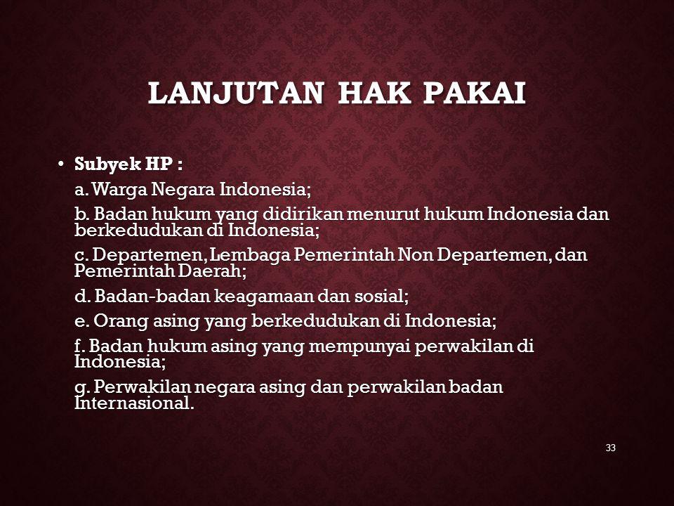 Lanjutan hak pakai Subyek HP : a. Warga Negara Indonesia;