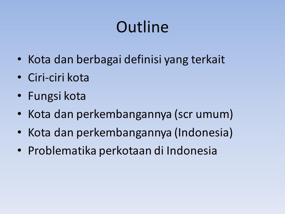 Outline Kota dan berbagai definisi yang terkait Ciri-ciri kota