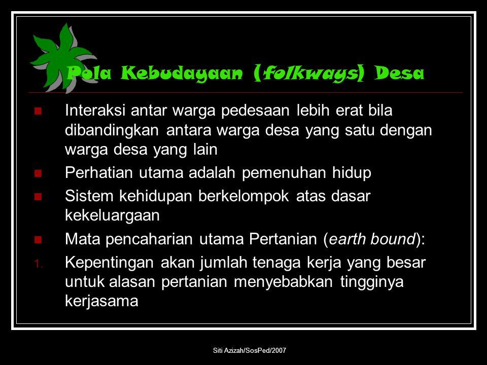 Pola Kebudayaan (folkways) Desa